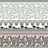 Flores y elefantes en verde ilustración del vector