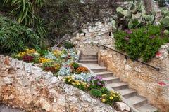 Flores y escaleras en jardín Imagen de archivo