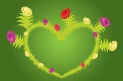 Flores y flores de la dimensión de una variable del corazón stock de ilustración