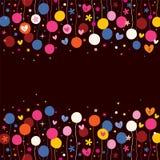 Flores y fondo de los corazones Imagen de archivo