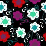 Flores y hojas coloridas sobre un color gris oscuro stock de ilustración