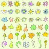 Flores y hojas del Doodle Fotografía de archivo