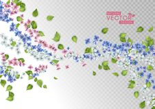 Flores y hojas del vuelo del vector stock de ilustración