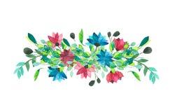 Flores y hojas Ilustración de la acuarela Foto de archivo libre de regalías