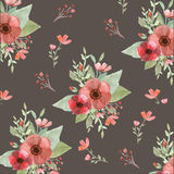 Flores y hojas inconsútiles Stock de ilustración