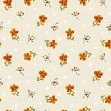 Flores y hojas minúsculas Apacible, modelo inconsútil floral de la primavera ilustración del vector