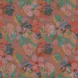 Flores y hojas, modelo inconsútil de los colores en colores pastel, fondo rosado plano del vector ilustración del vector