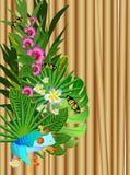 Flores y hojas tropicales sobre la madera, ejemplo brillante libre illustration