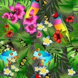 Flores y hojas tropicales y modelo inconsútil del pájaro hermoso stock de ilustración