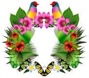Flores y hojas tropicales y pájaro hermoso, illustrat brillante Fotos de archivo