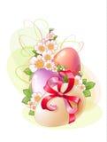 flores y huevos coloreados Fotografía de archivo