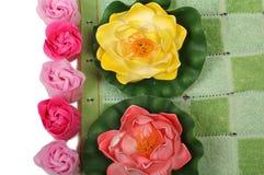 Flores y jabón una Fotos de archivo