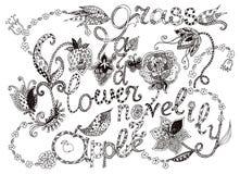 Flores y letras blancos y negros hermosas con el ornamento decorativo Fotografía de archivo libre de regalías