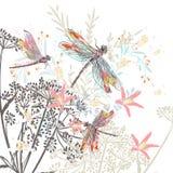 Flores y libélula del ejemplo del vector de la moda stock de ilustración