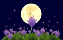 Flores y luciérnagas bajo claro de luna-illustra Foto de archivo