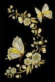 Flores y mariposa étnicas, línea el llevar del bordado de la moda del diseño Vintage del vector, elemento decorativo para el bord Foto de archivo