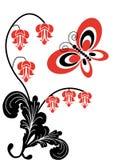 Flores y mariposa 02 Fotografía de archivo libre de regalías
