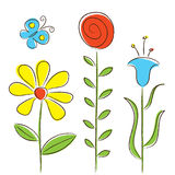 Flores y mariposa Imagen de archivo libre de regalías