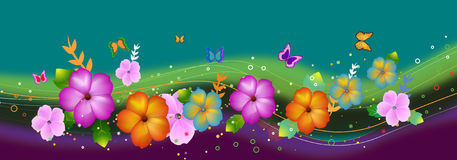 Flores y mariposas libre illustration