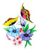 Flores y mariposas Fotografía de archivo libre de regalías
