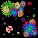 Flores y mariposas Fotografía de archivo