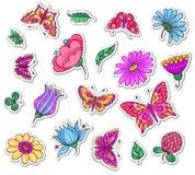 Flores y mariposas Foto de archivo libre de regalías