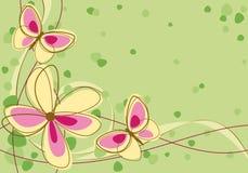 Flores y mariposas amarillas y púrpuras Foto de archivo libre de regalías