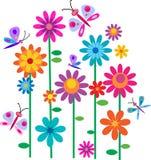 Flores y mariposas de la primavera Fotografía de archivo