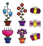 Flores y mariposas del vector Imágenes de archivo libres de regalías