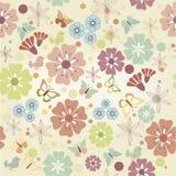Flores y mariposas inconsútiles Imagen de archivo libre de regalías