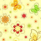 Flores y mariposas. Resorte inconsútil. Fotos de archivo libres de regalías