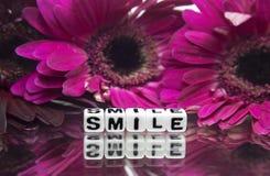 Flores y mensaje de texto rosados de la sonrisa Foto de archivo libre de regalías