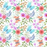 Flores y modelo inconsútil de la mariposa stock de ilustración
