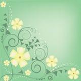 Flores y modelo verdes y amarillos de los remolinos Foto de archivo libre de regalías