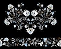 Flores y ornamento comunes de la hoja patt oriental o ruso ilustración del vector