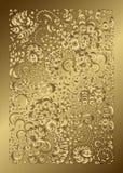 Flores y ornamento del oro de las plantas stock de ilustración