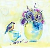 Flores y pájaro del ejemplo de la acuarela Foto de archivo