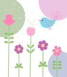 Flores y pájaro lindos Fotos de archivo
