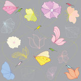 Flores y pájaros ilustración del vector