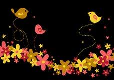 Flores y pájaros en el negro Imágenes de archivo libres de regalías