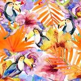 Flores y pájaros en un fondo blanco Pintura Foto de archivo libre de regalías