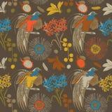Flores y pájaros tropicales del drenaje de la mano Fotos de archivo libres de regalías
