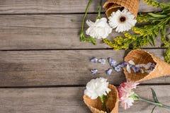 Flores y pétalos hermosos en conos de la oblea en fondo de madera Foto de archivo