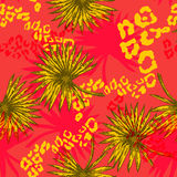 flores y palma tropicales ilustración del vector
