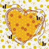 Flores y panal de la margarita con el fondo de las abejas ilustración del vector