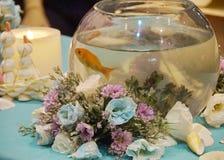 Flores y pescados del oro Fotografía de archivo libre de regalías