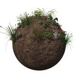 Flores y plantas de tierra del globo stock de ilustración