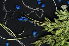 Flores y rama azules con las hojas verdes Foto de archivo libre de regalías