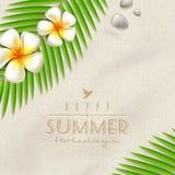Flores y ramificaciones de palmera tropicales en una arena de la playa Imágenes de archivo libres de regalías