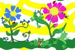 Flores y ranas imagen de archivo libre de regalías
